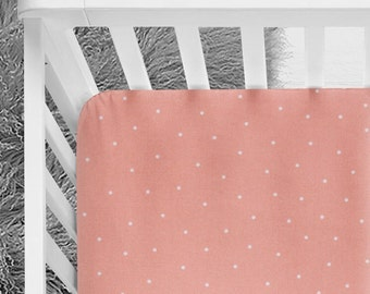 Coral dot fitted crib sheet, coral dot changing pad cover, coral nursery, coral bedding, coral crib skirt, pillow, blanket