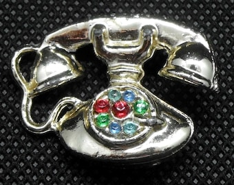 Retro Rotary Telephone Silver Tone Brooch/Pin