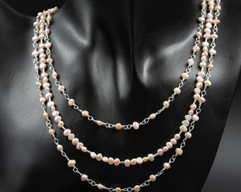 Freshwater pearl 3 strand necklace handmade  freshwater pale pink pearl necklace, pearl jewelry, gemini jewelry, multi strand pearl necklace