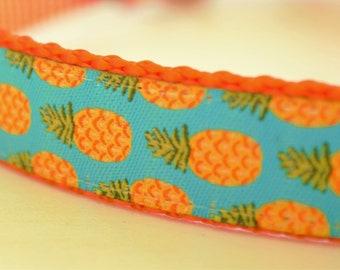Pineapples on Turquoise Adjustable Dog Collar Summer Dog Collar