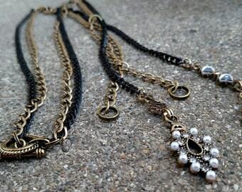 Necklace - Long Double Chain Black & Antique Gold