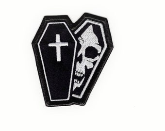Coffin and Skull Patch Death white Skull and Coffin Iron/Sew on Patch Badge#176