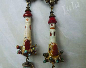 Lighthouse, Pendant lighthouse, Lampwork bead