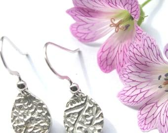 Silver teardrop dangle earrings, teardrop earrings, silver drop earrings, simple silver teardrop earrings