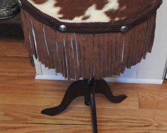 Rustic Fringed Western Brown White Cowhide Leather Wooden Wood Small Table Cowboy Cowgirl Cabin