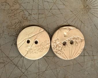 Handmade off white glazed ceramic buttons Artisan ceramic textured buttons ceramic Large button ecru button tan button natural fall buttons
