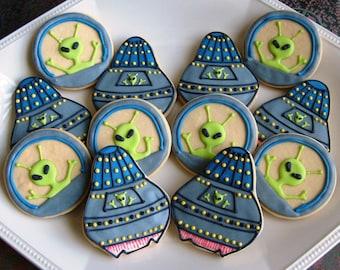 UFO Cookies - Alien Cookies - 12 cookies