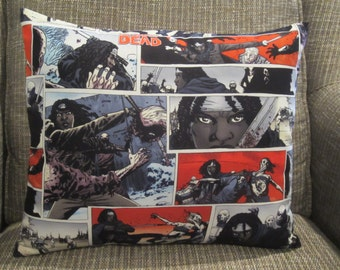 Zombie Pillow, Walking Dead Pillow, Michone Pillow, Scary Pillow, TV Room Pillow, Theater Room Pillow, Comic Strip Pillow, Man Cave Pillow
