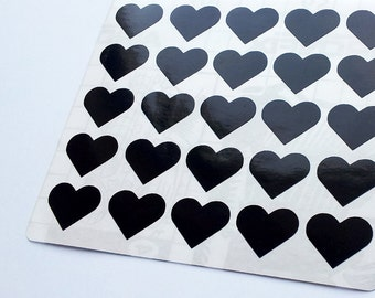 50 Black Heart Stickers, Heart Planner Stickers, Heart Envelope Seal, Heart Party Stickers, Heart Wedding Stickers, Heart Birthday Stickers