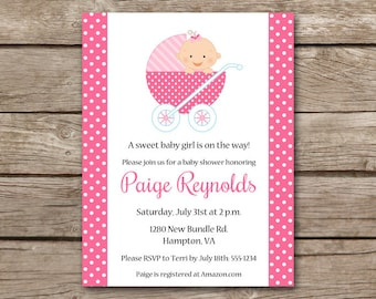 Baby Buggy Shower Invitation, Baby Stroller Invitation, Baby Carriage Invitation, Girl Baby Shower, PRINTABLE