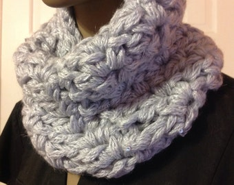 Scarves/cowl/sequin cowl/cuff/Mother's Day gift/neckwarmer/handmade/silver/circle scarf/loop scarf/women accessories