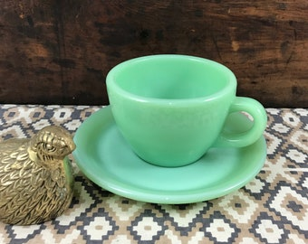 Fire King Jadite Jadeite Restaurant Ware Cup and Saucer Excellent Condition