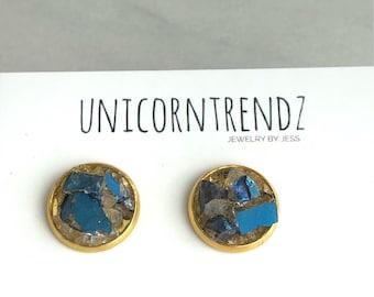 Blue Quartz Earrings, Blue Quartz Jewelry, Blue Iris Studs, Blue Iris Earrings, Blue Iris Jewelry, Faith Gift, Silver blue Iris Studs, Blue