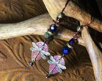 Irridescent purple crystal dragonfly teardrop Earrings