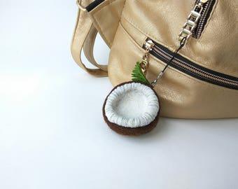 Needle felted coconut keychain, Gift idea, Felted pendant, Souvenir, Birthday gift, Custom keychain, Gift for her Needle felt Needle felting