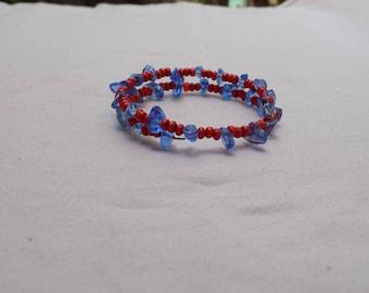 Handmade Red Wood & Blue Glass Bead Metal Wire Bracelet