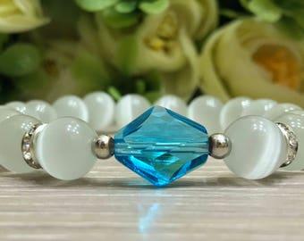White cat eyes hand made women  bracelets