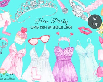 Hen party clipart, watercolor hen do illustration, tiara, veil, lipstick, lingerie, hand bag and fashion item for instant download