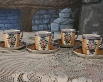 Roses Lusterware Demitasse Cup and Saucer Set of 4  Hand Painted Miniature set Children tea set Japan Shabby Chic Cottage Style