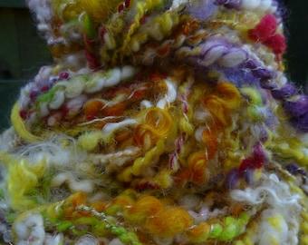Handspun Art yarn, Chunky Yarn, Hand Painted Yarn, Thick & Thin Yarn: Serendipity- Daff-a-down-dilly