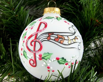 Musical Notes Ornament, Christmas,  Hand-Painted, Holly and Berries, Whimsical, Music Lover