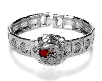 Steampunk Jewelry, Steampunk Bracelet, Silver Mesh Vintage Watch Swarovski RED Crystal, Brides, Mothers Day - Jewelry by Steampunk Boutique