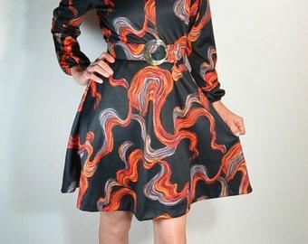 70s Secretary Dress// Brady Bunch Dress// Disco 70s Psychedelic Small Dress (F1)