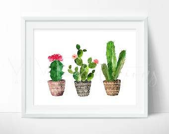 Cactus Print, Succulent Print, Boho Art, Cactus Plants, Cacti Print, Boho Floral Nursery Art, Tribal Art Print, Not Framed, CP5