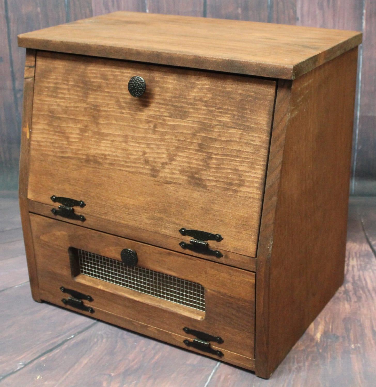 Wooden Bread Box Kitchen Storage Wood Vegetable Potato Bin