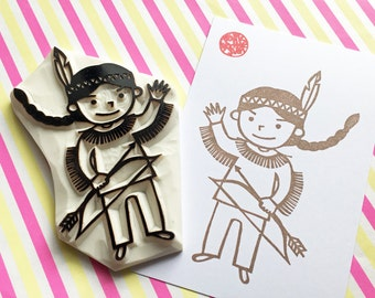 native american boy stamp | warrior rubber stamp | fairytale birthday baby shower card making | gift wrapping | hand carved by talktothesun