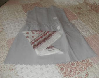 Old ceremonial bibbed dress / tinted Pearl gray