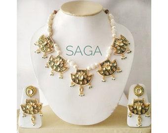 Atique Kundan Meena Pankhi Necklace Set/ Traditional Indian Jewellery/ Statement Jewellery/ Fashion jewellery