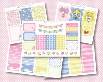 Sailor Moon Planner Stickers, autocollants planificateur mat ou brillant, autocollants de planificateur de vie, erin condren filofax, mambi planificateur heureux