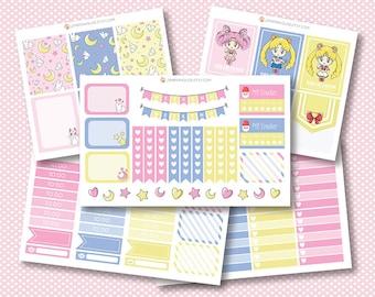 Sailor Moon Planner Stickers, matte or glossy planner stickers, life planner stickers, erin condren filofax, mambi happy planner