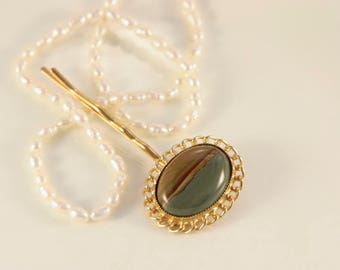 Gemstone Hair Pin Olive Green Head Clip Gold Filigree Hair Piece Large Oval Bobby Pin Jasper Hair Jewelry Headpiece Party Accessory Striped