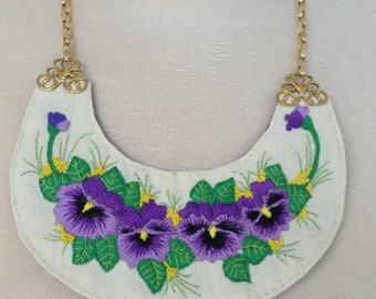 Embroidered pansy necklace