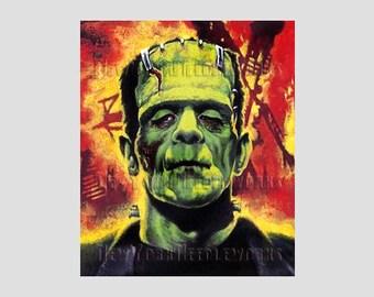 Frankenstein Cross Stitch Silhouette, Frankenstein, Monsters Cross Stitch, Halloween Cross Stitch, Needlepoint from NewYorkNeedleworks