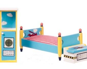 Miniature Dollhouse Airplane Bedroom Set 1:12 Scale