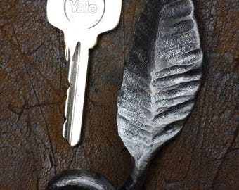 Hand Forged Leaf Key Fob