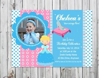 Cinderella & Glass Slipper Photo Birthday Invitation - Digital File