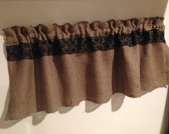 "BLACK Lace on Burlap Jute Unlined VALANCE CurtainTopper 16"" x 56"" finished."