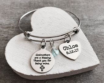 Godmothers are a, Blessing Thank you, for being mine, Godmother Gift, Godmother Bracelet, God Mother, Bangle Bracelet, Charm Bracelet