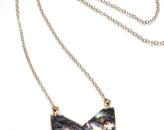 Abalone chevron necklace on 14k gold filled chain