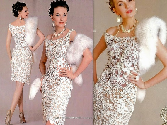 Romantic Lace Wedding dress Hand crochet irish lace Bridal