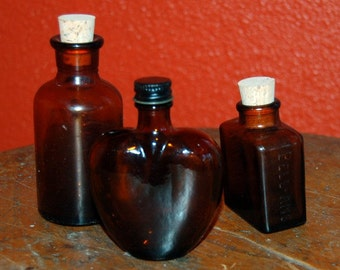 Mix Vintage Amber Brown Bottles Fall Decorating