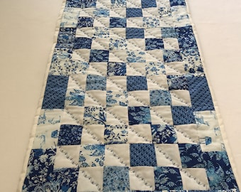 Blue and White Table Runner, Blue Table Runner, White Table Runner,White With Blue Fabric, Quilted Table Runner, Patchwork Table Runner,OOAK