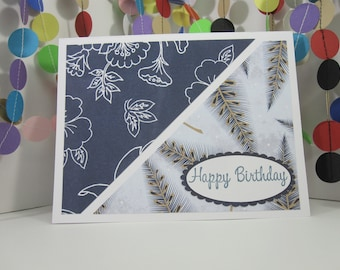 Floral and Feathers Card - Choose the greeting - Thank You - Congratulations - Happy Birthday - a note for you - blue white