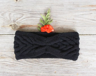 Black winter headband wool warm ear warmer turban Cozy knit head wrap knitted winter women accessory knitting Christmas gift ideas