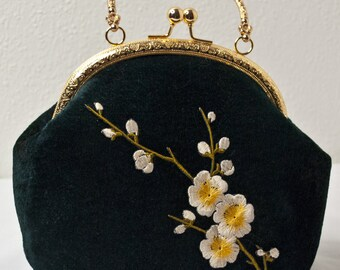Chinese Plum Blossom Handbag / Green