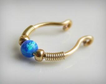 Fake Septum Ring / Fake Opal Septum Ring/ fake piercing - non pierced blue opal septum ring